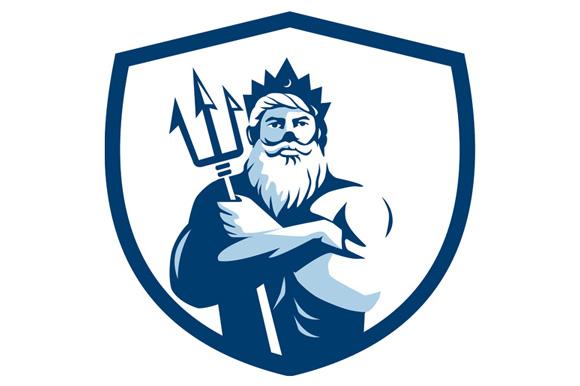 Triton Trident Arms Crossed Crest Retro example image 1