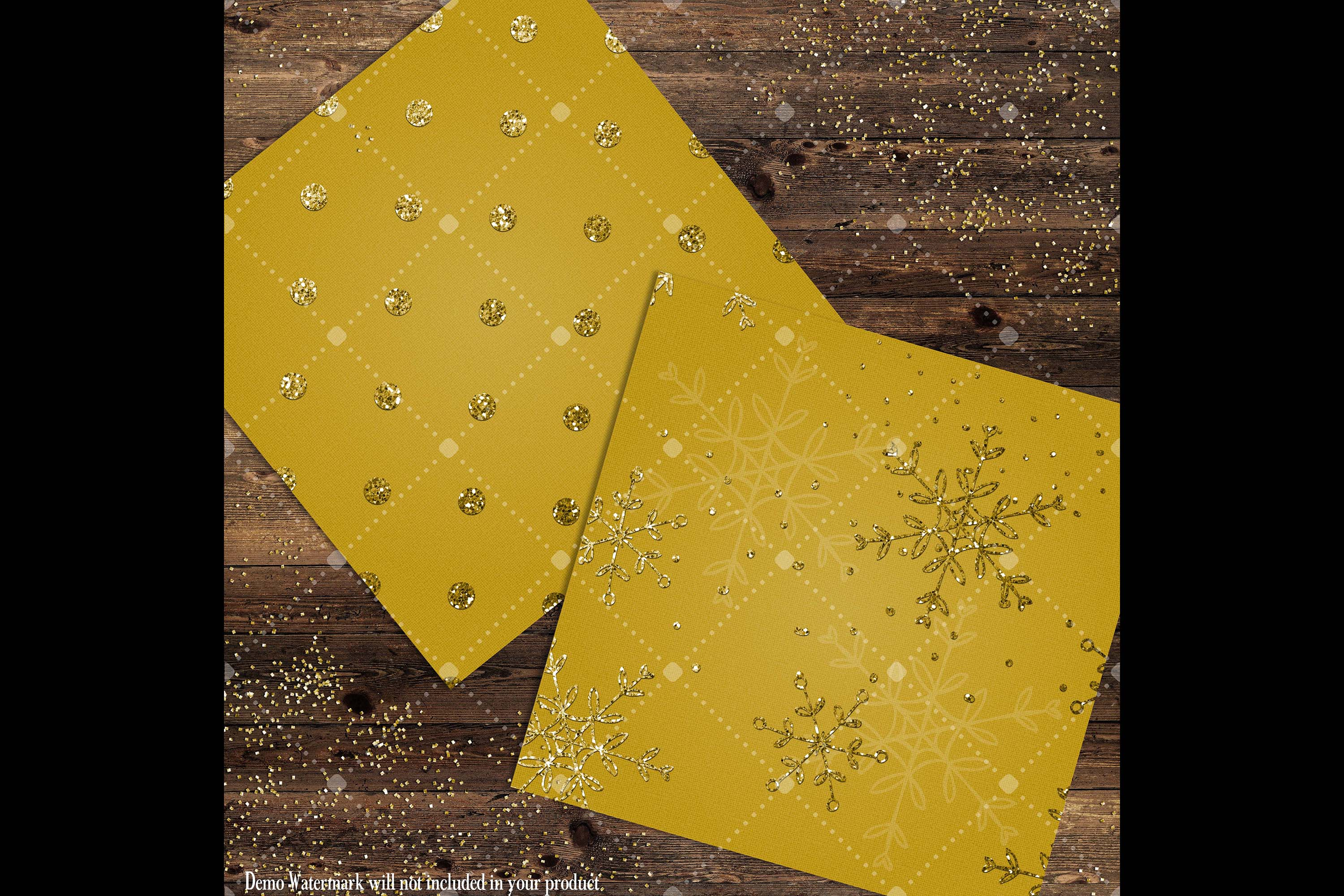 16 Gold Glitter Christmas Printable Digital Papers 12 inch example image 7