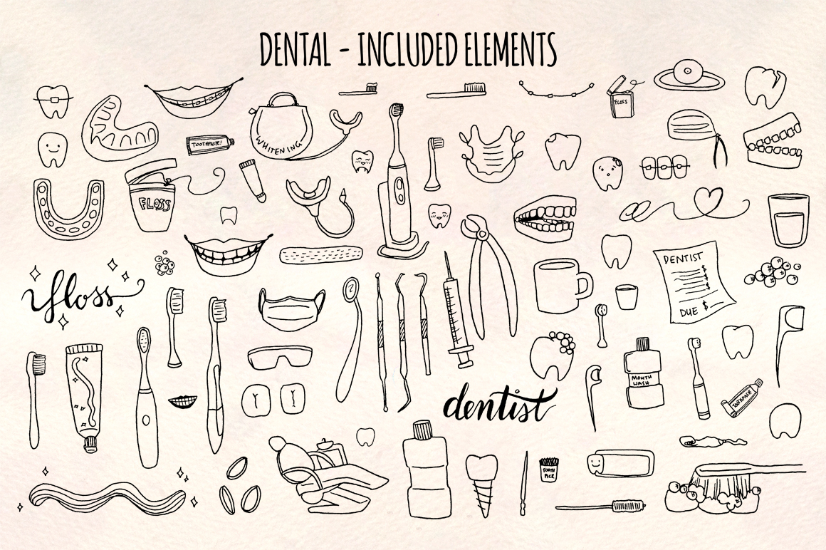 77 Dental and Dentist Vector Sketch Graphics example image 2