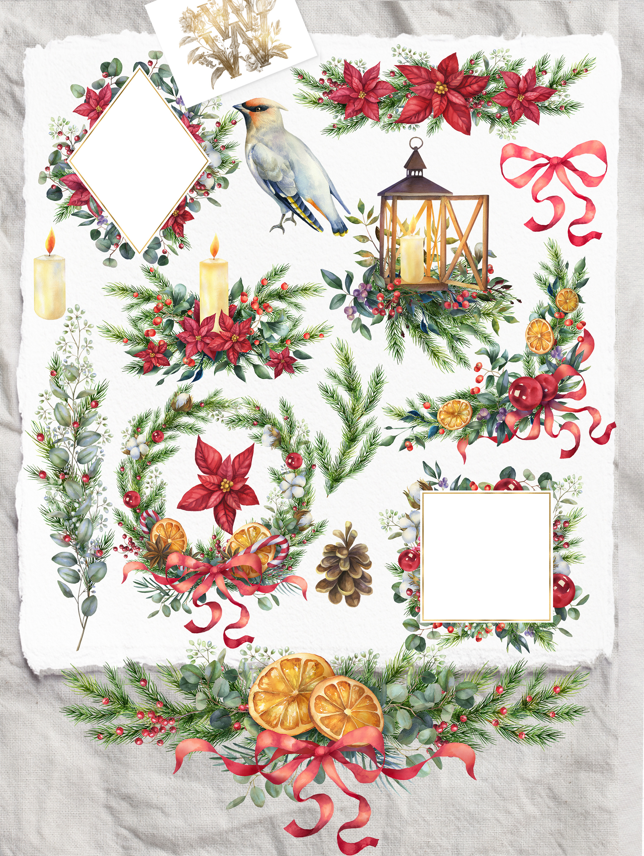 Christmas watercolor border, Poinsettia wedding Bouquet png example image 2