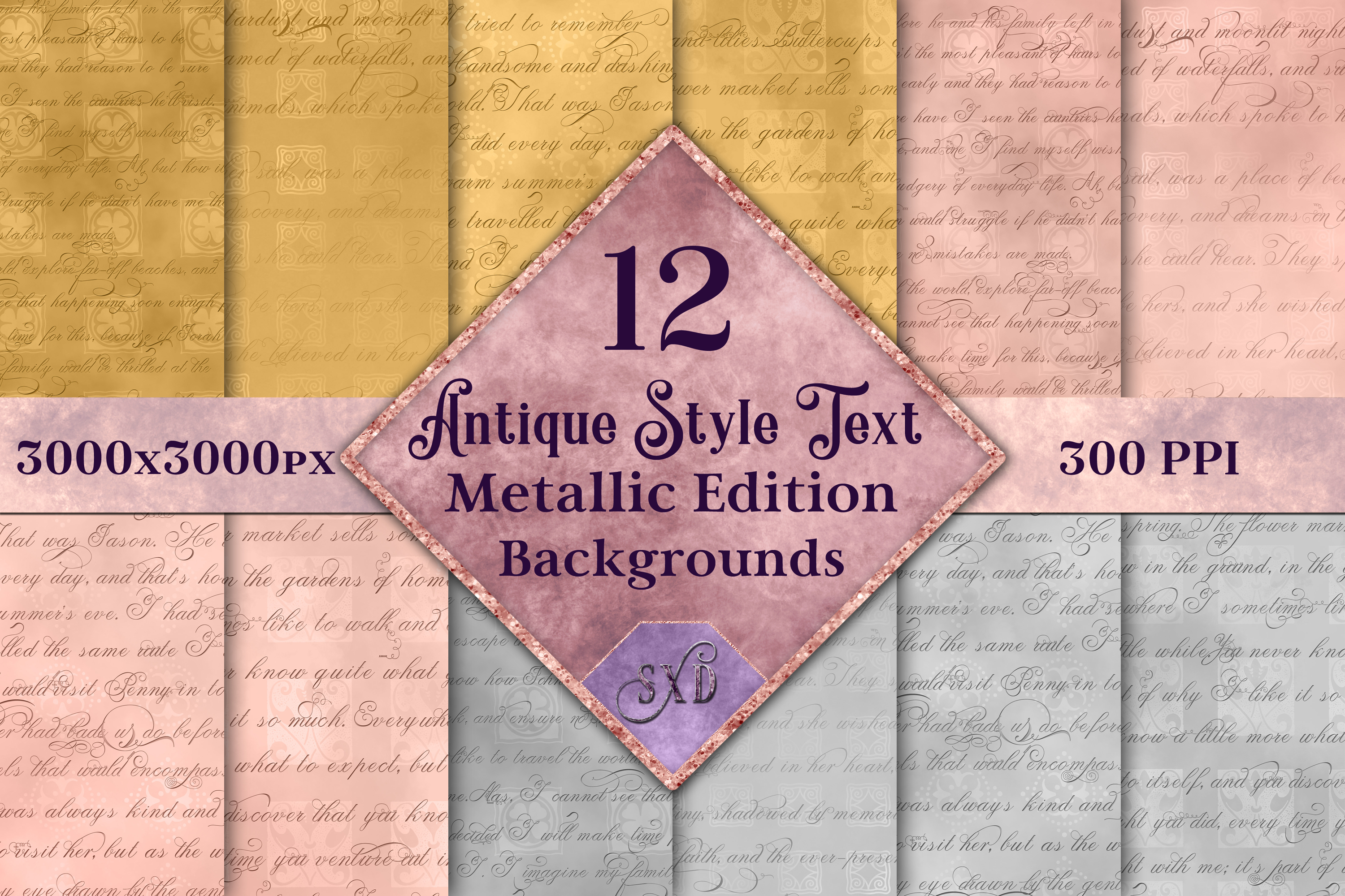 Antique Style Text Backgrounds Metallic Edition - 12 Images example image 1