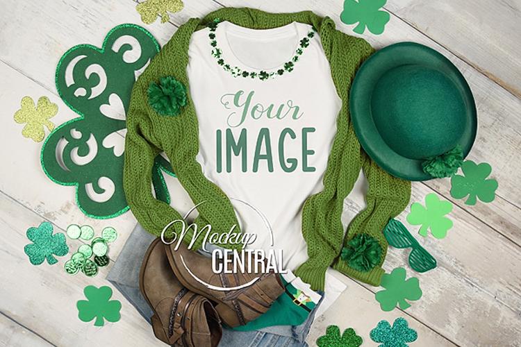 Women's Blank White T-Shirt St Patricks Shirt Mock Up JPG example image 1