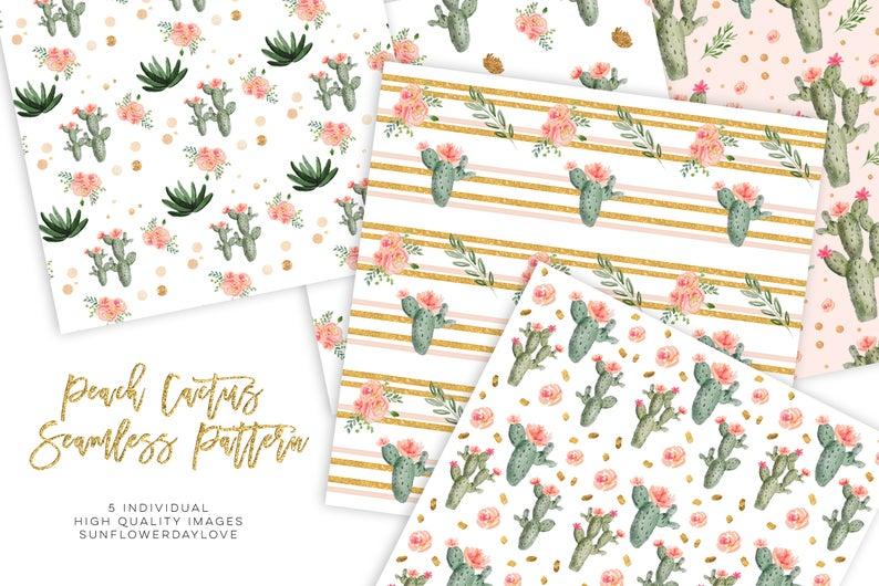 Watercolor Cactus Succulents, Digital Paper Pattern Pack example image 3