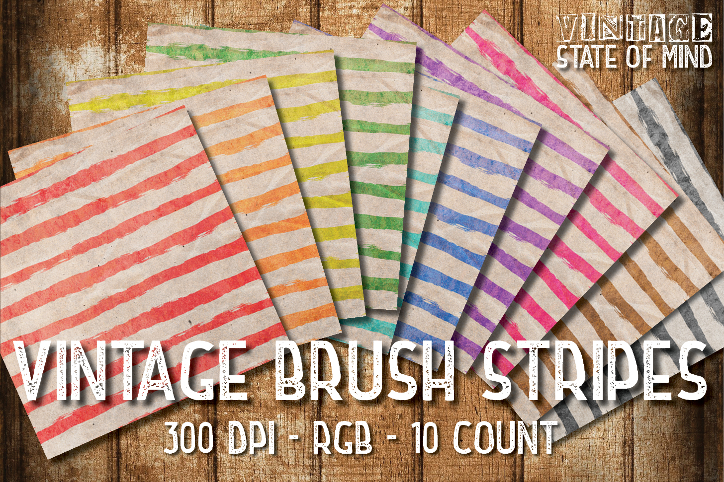 Vintage Brush Stripes Digital Papers example image 2