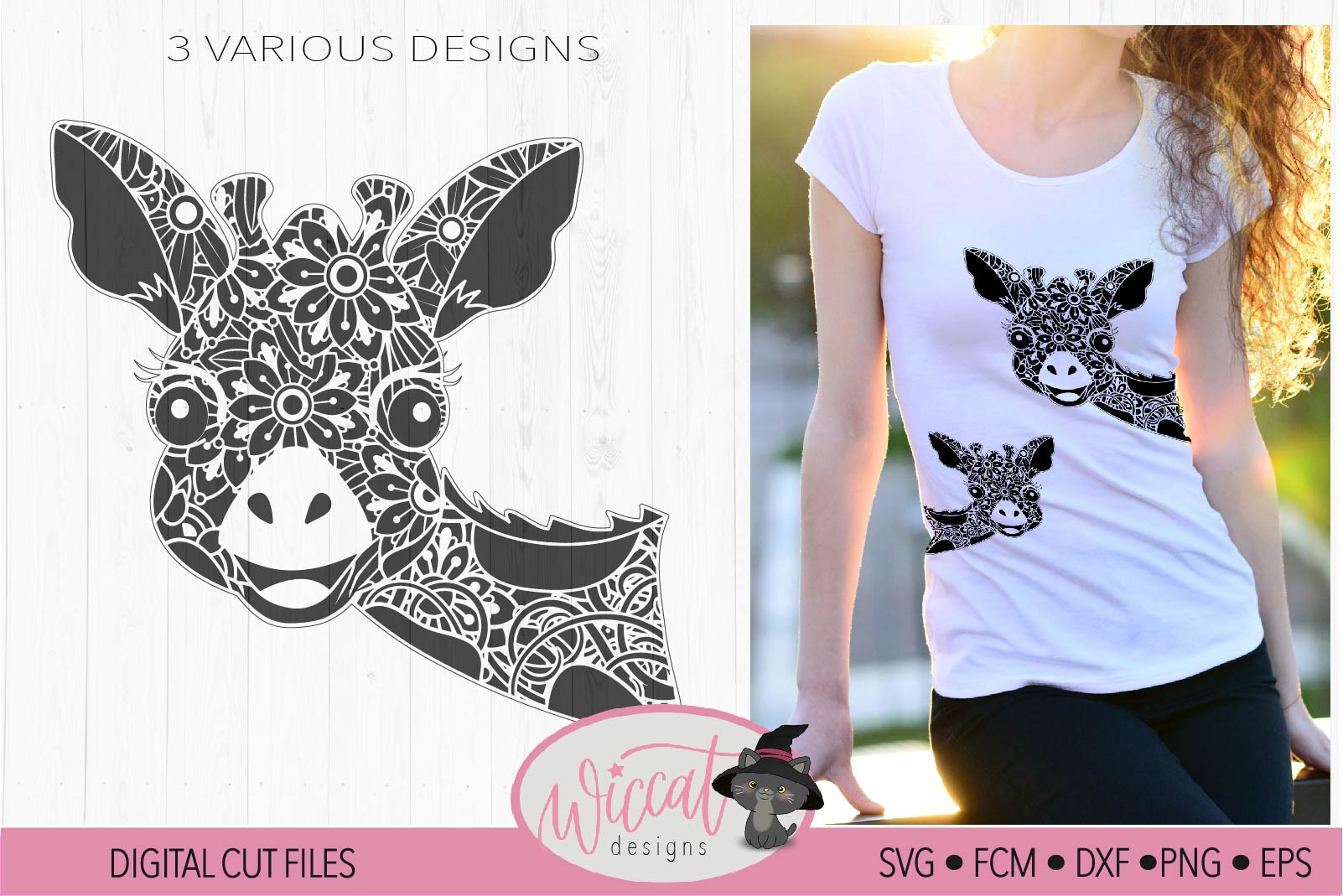 Funny Zentangle Giraffe, mandala animal svg, doodle Giraffe, example image 2