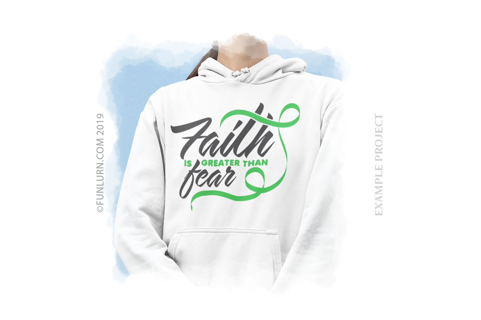 Faith is Greater Than Fear Light Green Ribbon SVG Cut File example image 3
