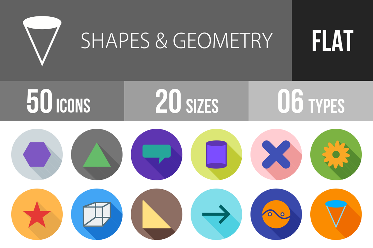 50 Shapes & Geometry Flat Long Shadow Icons example image 1