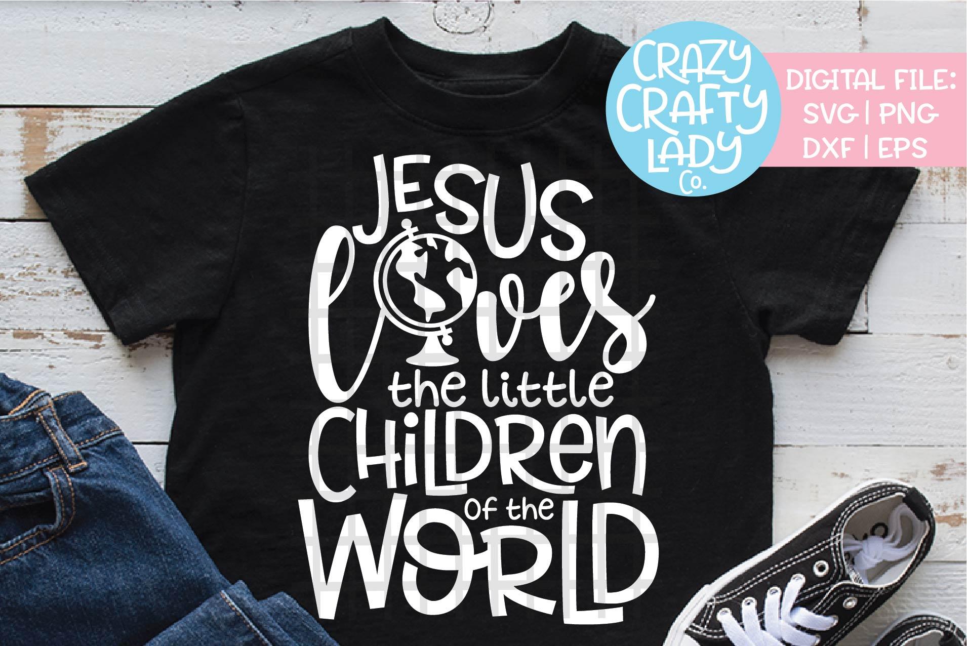Jesus Loves the Little Children SVG DXF EPS PNG Cut File example image 1