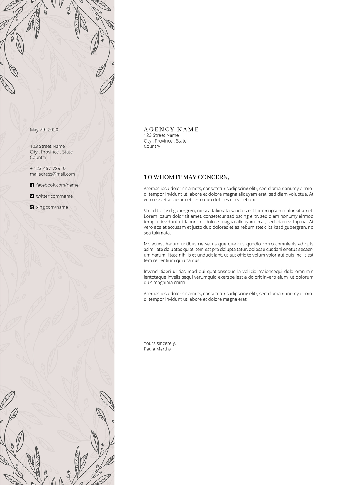FLORAL Resume/CV + Cover Letter + Title example image 8