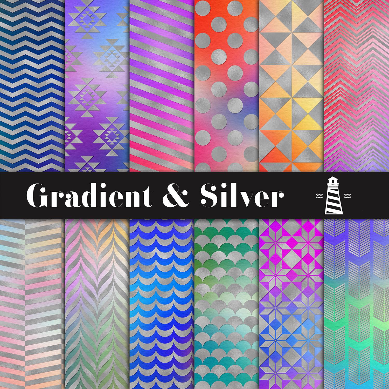 Gradient & Silver Digital Paper example image 1