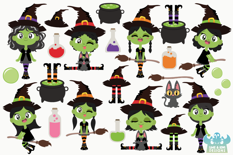 Wicked Witches 1 Clipart, Instant Download Vector Art example image 2