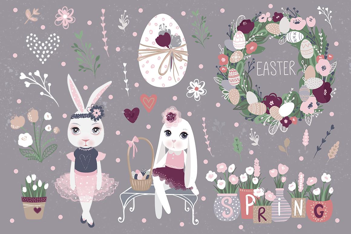 Happy Easter. Bunnies, eggs, flowers example image 2