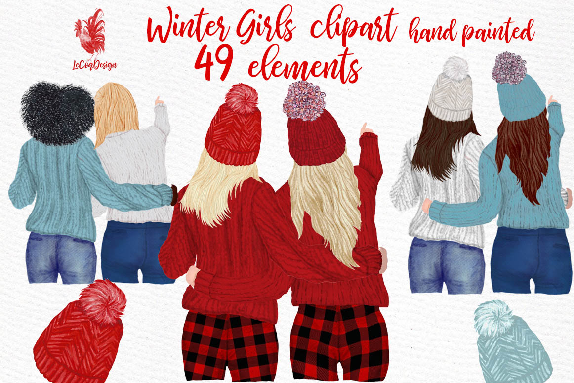 Girls Clipart Best friends clipart Girls in Sweaters clipart example image 1