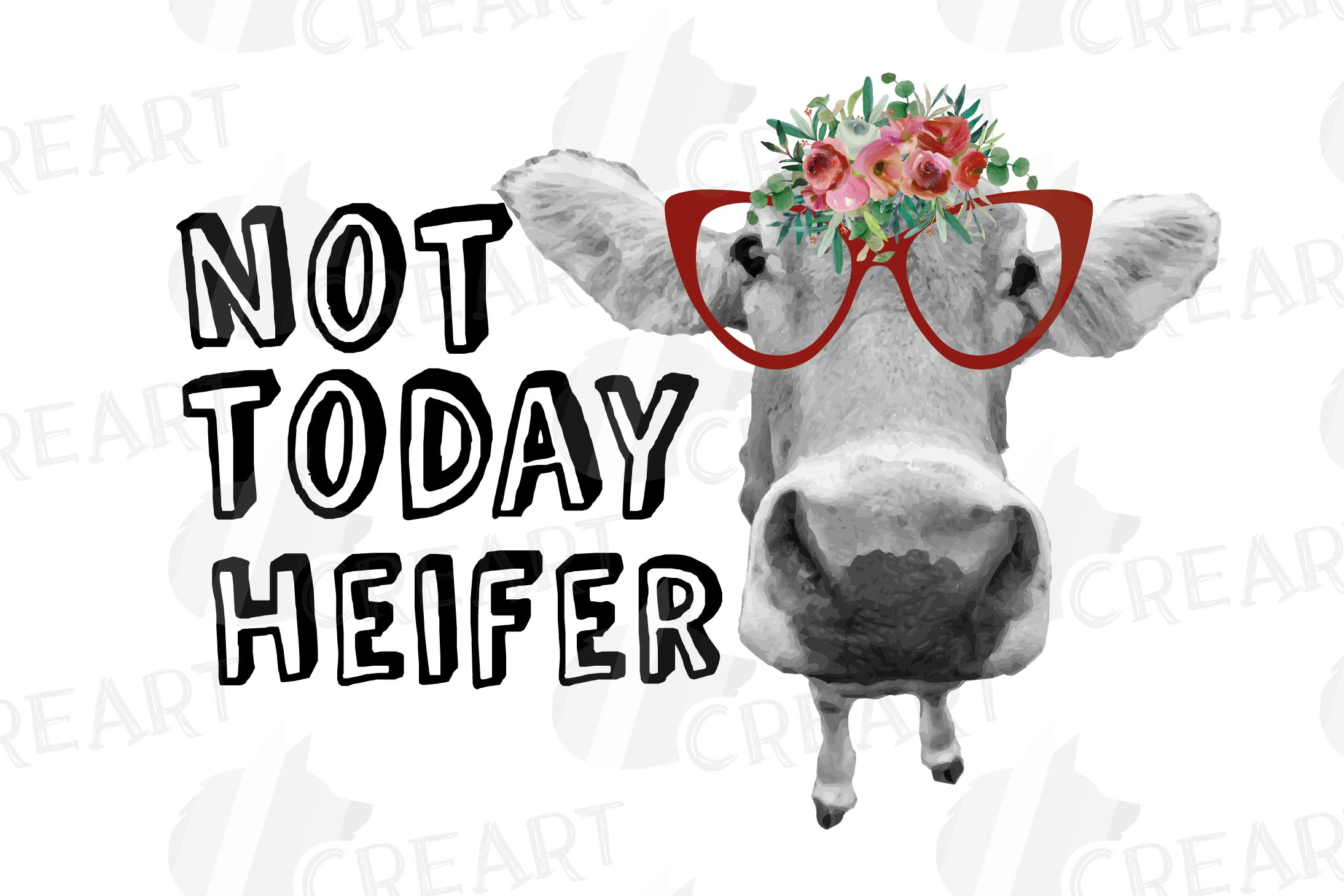 Not today Heifer printable shirt, mug, card floral cow png example image 12