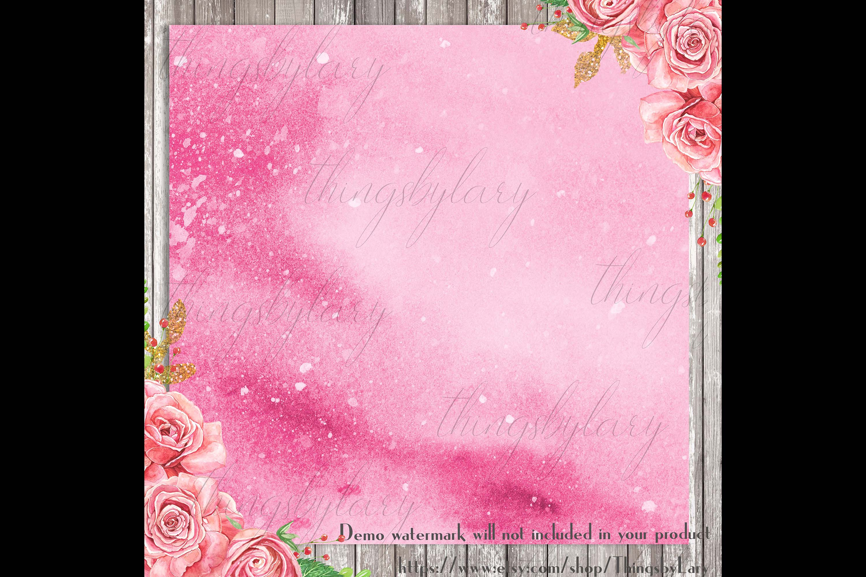 30 Ombre Aloe & Hot Pink Spring Watercolor Digital Papers example image 4