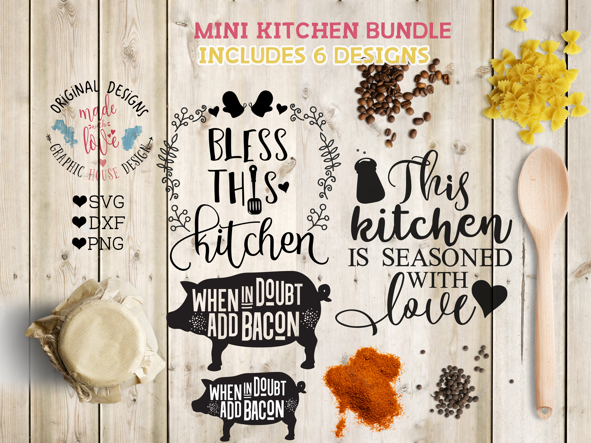 Kitchen Cutting Files Bundle SVG, DXF, PNG example image 1