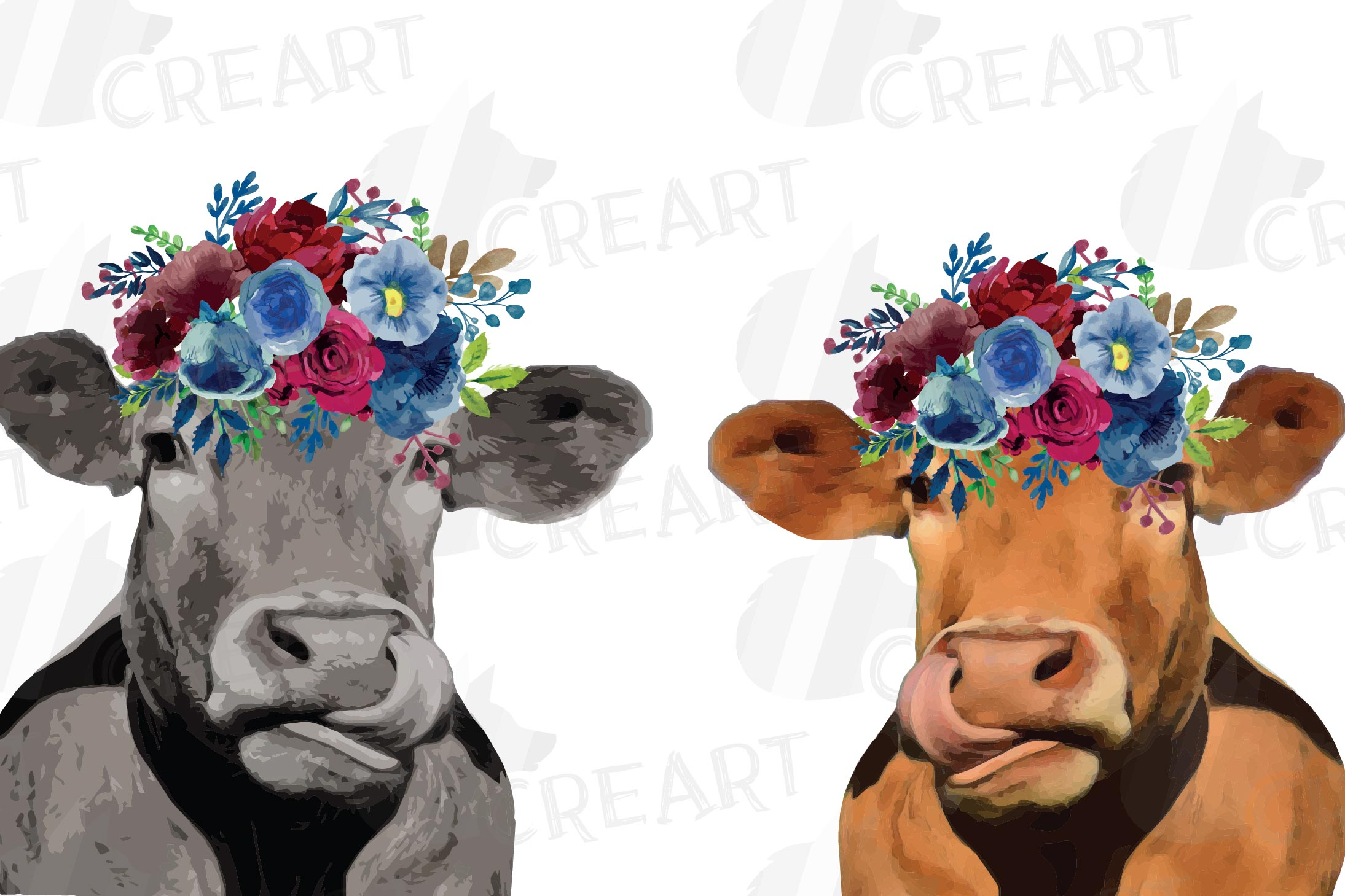 Floral cow printable gift graphic. Farmhouse wall decoration example image 1