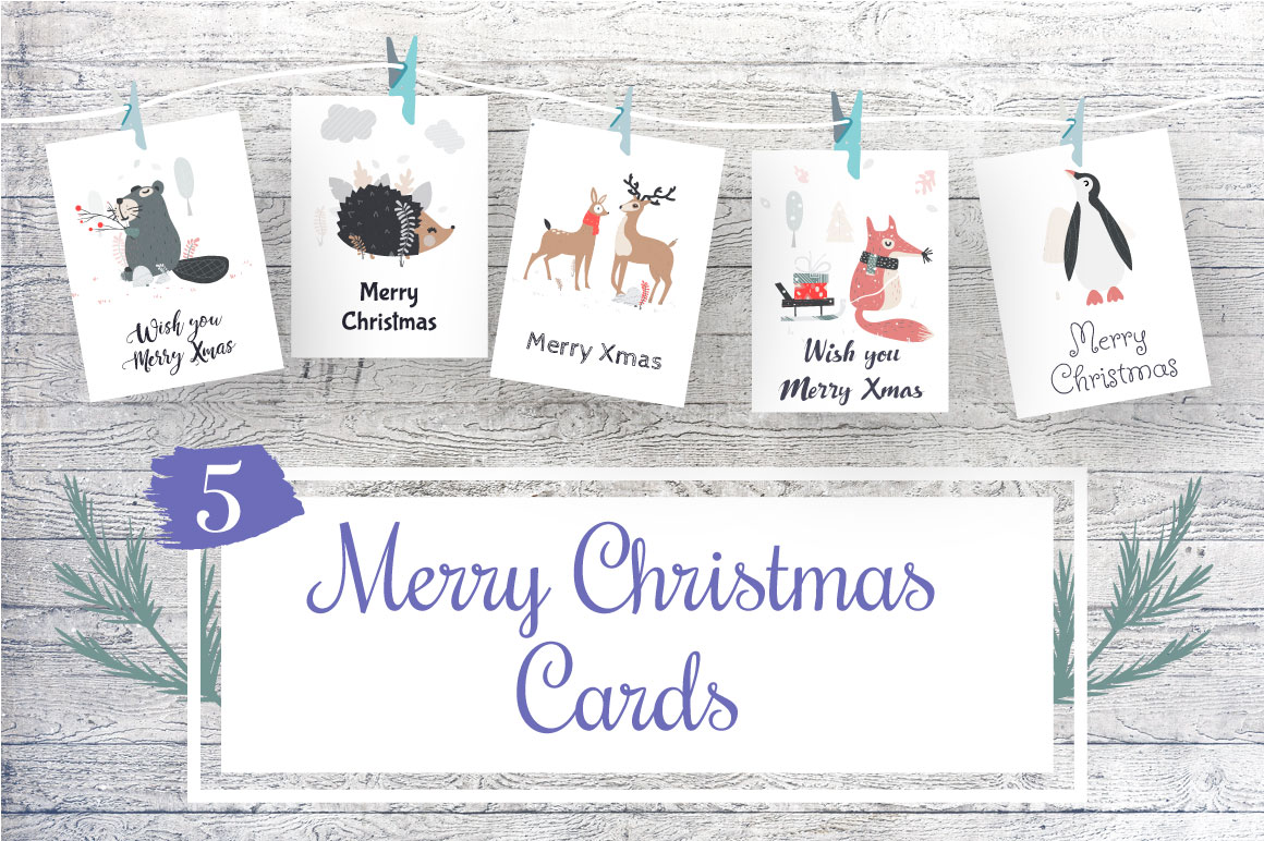 5 Christmas Cards example image 1