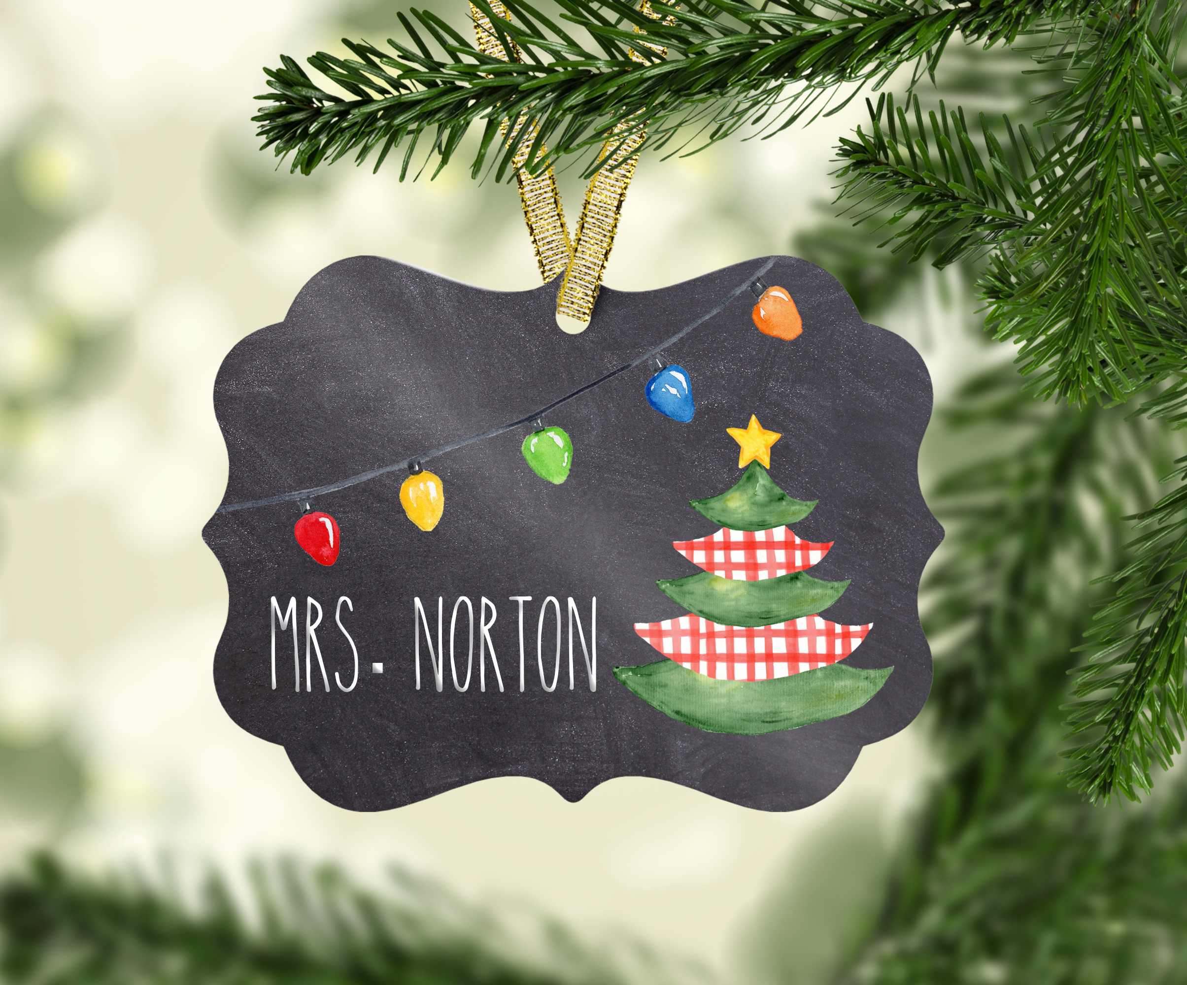Sublimation Ornament Template - Chalkboard Background example image 2
