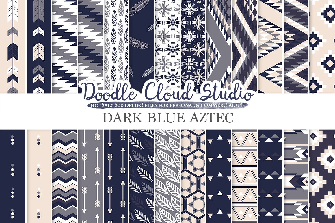 Dark Navy Blue Gray Cream Aztec digital paper, Tribal patterns native triangles geometric ethnic arrows background Personal & Commercial Use example image 1