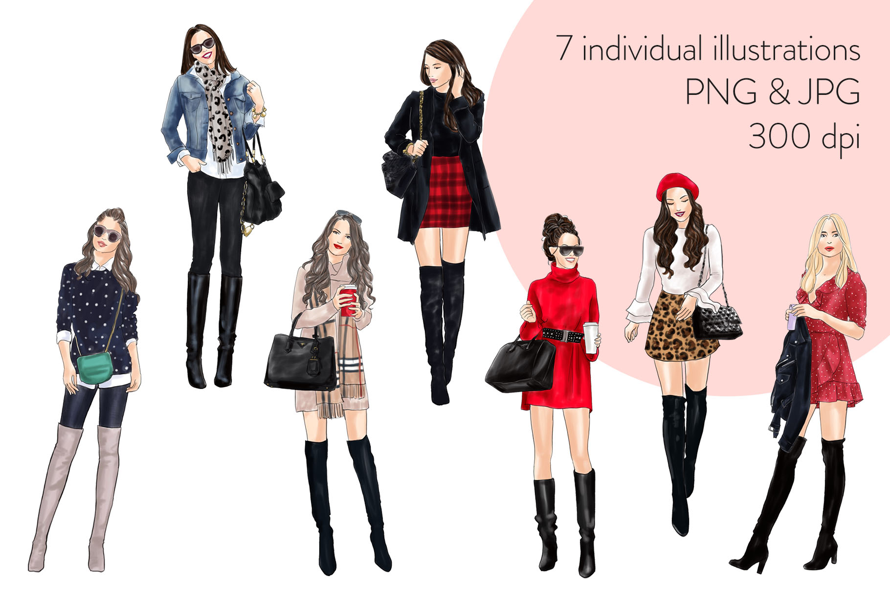 Fashion illustration clipart - Girls in Boots 1 - Light Skin example image 2