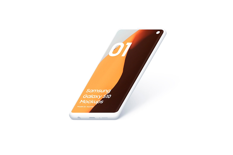 Samsung S10 - 21 Clay Mockups - 5K - PSD example image 18