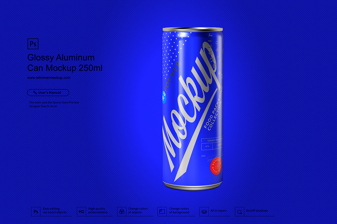 Glossy Aluminum Can Mockup 250ml example image 4