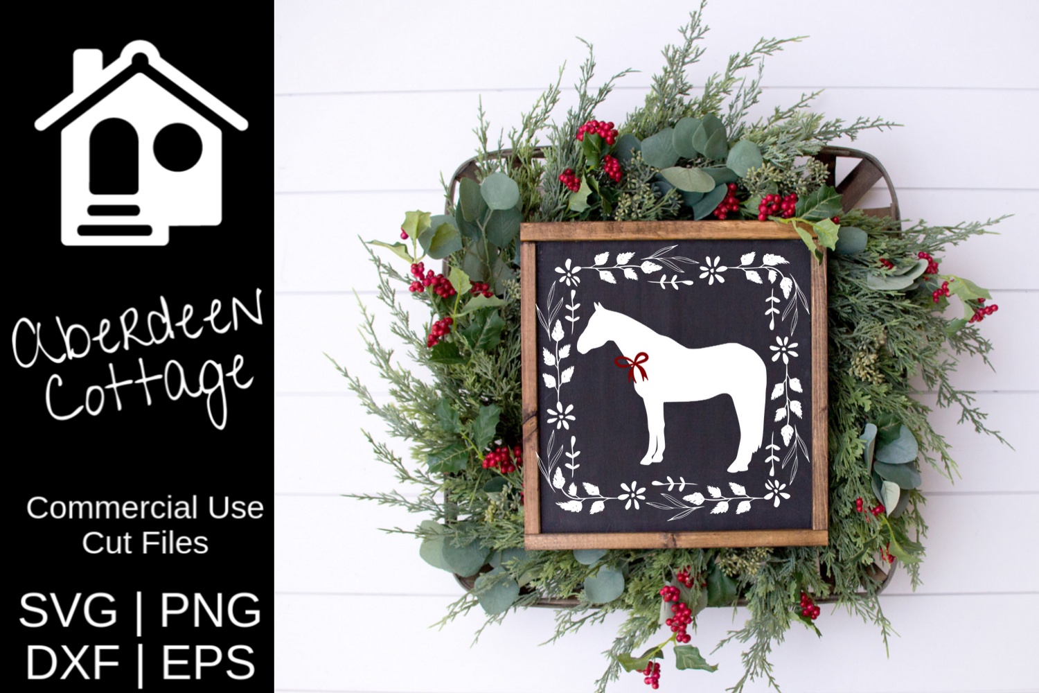 Farmhouse Christmas Horse SVG example image 1