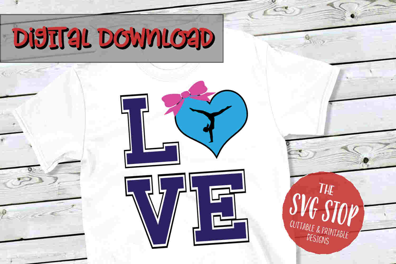Love Gymnastics 3 -SVG, PNG, DXF example image 1