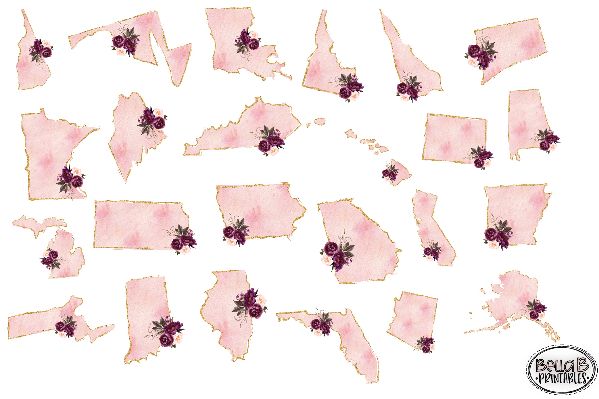 Gold and Pink Watercolor USA States Sublimation Bundle example image 3