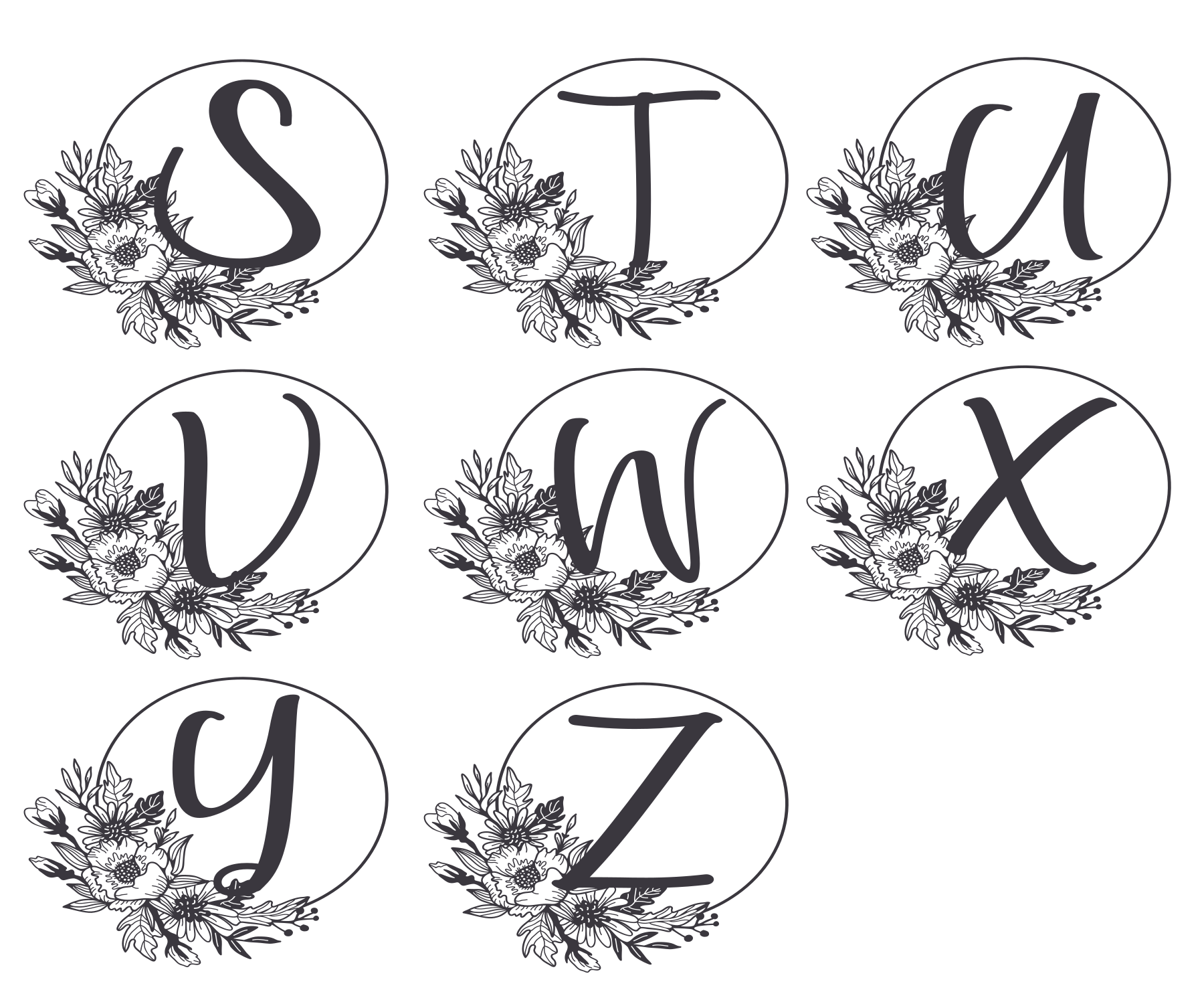 Monogram Alphabet with Floral Design. Flower Monogram example image 4