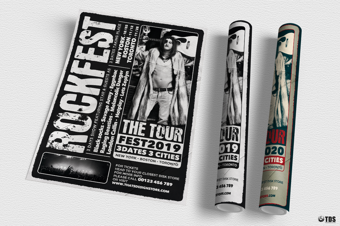 Distressed Rockfest Flyer Template example image 6