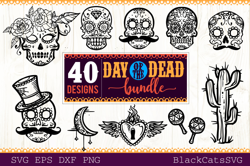 Day of the Dead SVG bundle 40 designs example image 2