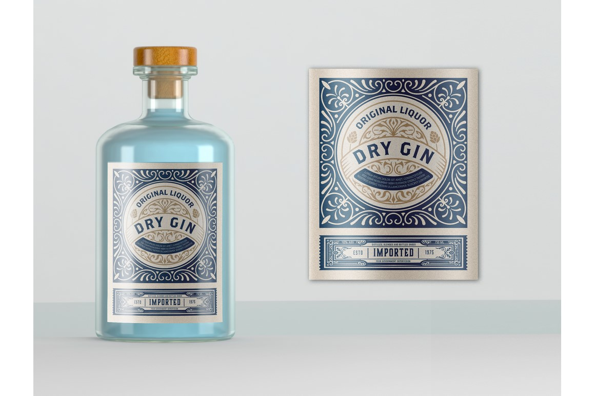 Vintage Gin label. Vector layered example image 1