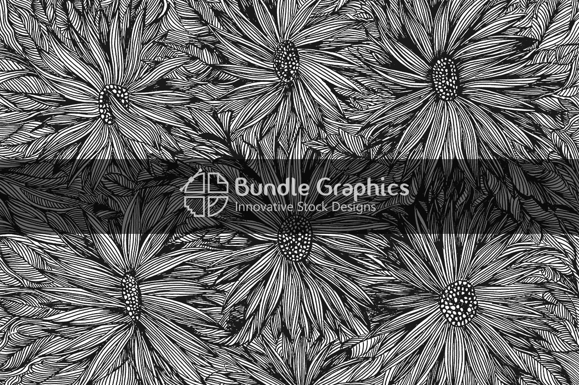 Creative Sunflowers - Handmade Ink Graphics Background example image 1