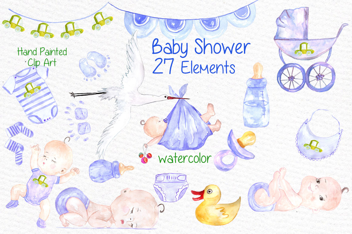 Watercolor boy baby shower clipart example image 1