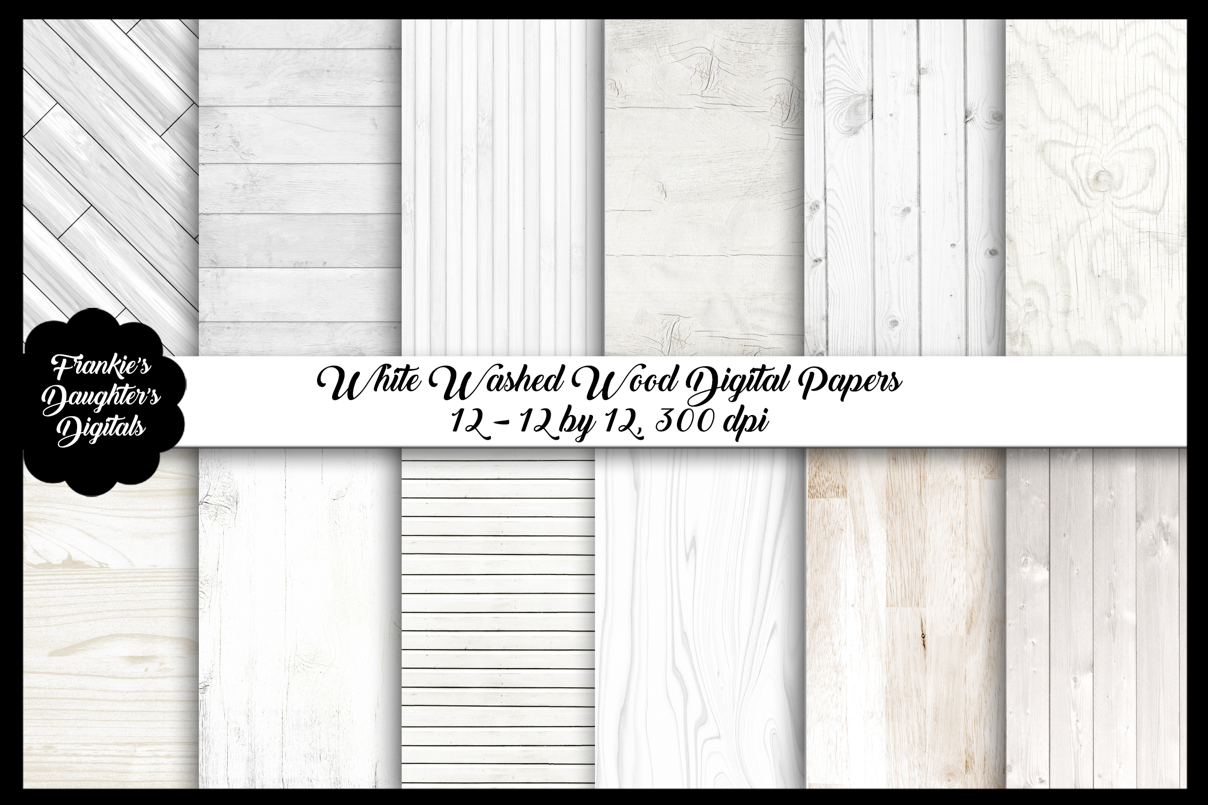 White Washed Wood Digital Papers, Rustic Backgrounds