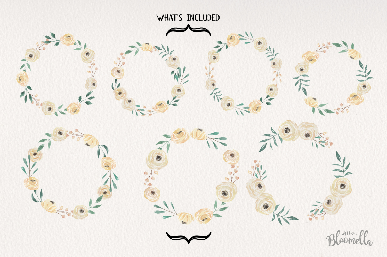 Ivory 7 Wreaths Watercolor Flowers Cream Wedding Florals example image 2