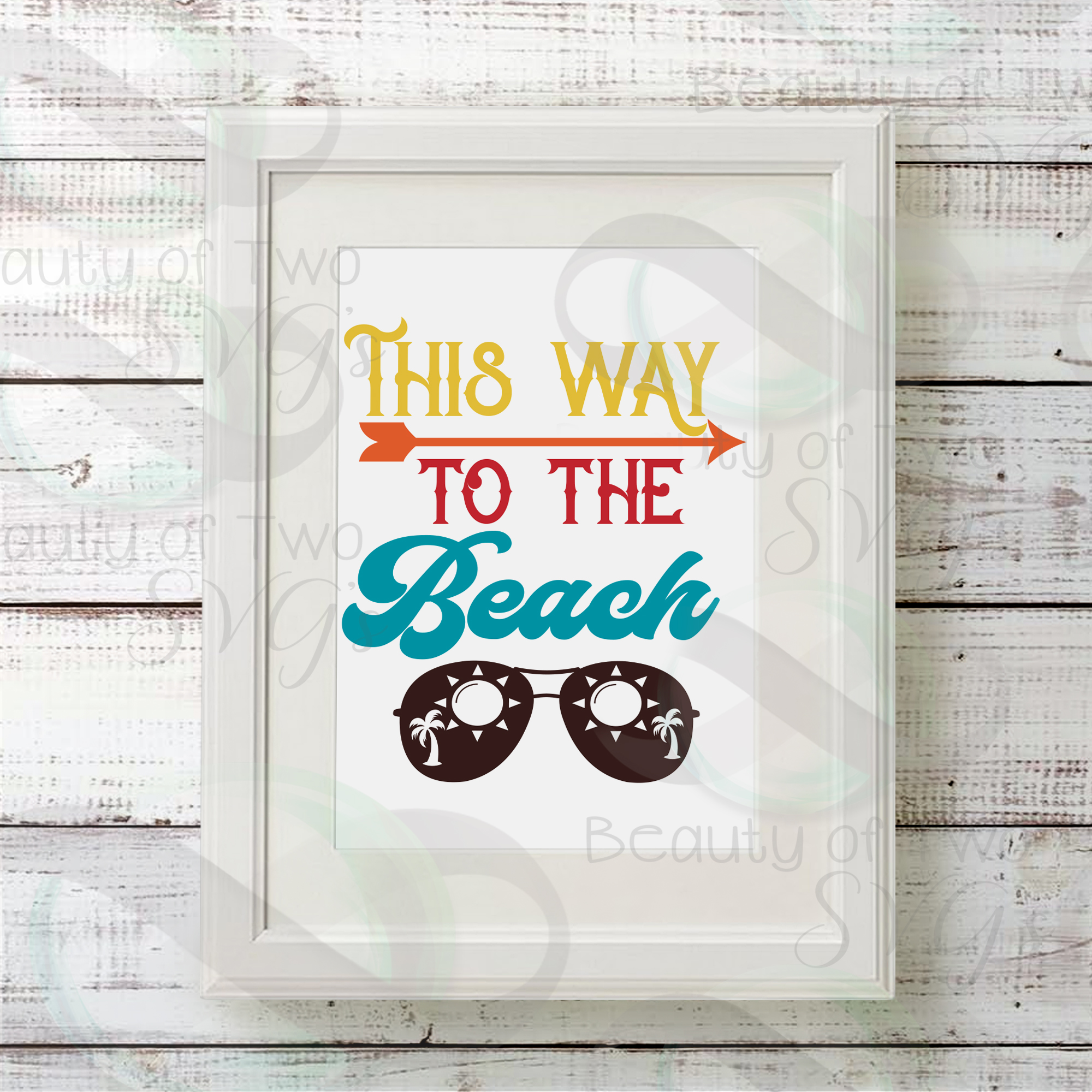 Sunglasses svg, This way to the beach svg and png, beach svg example image 2