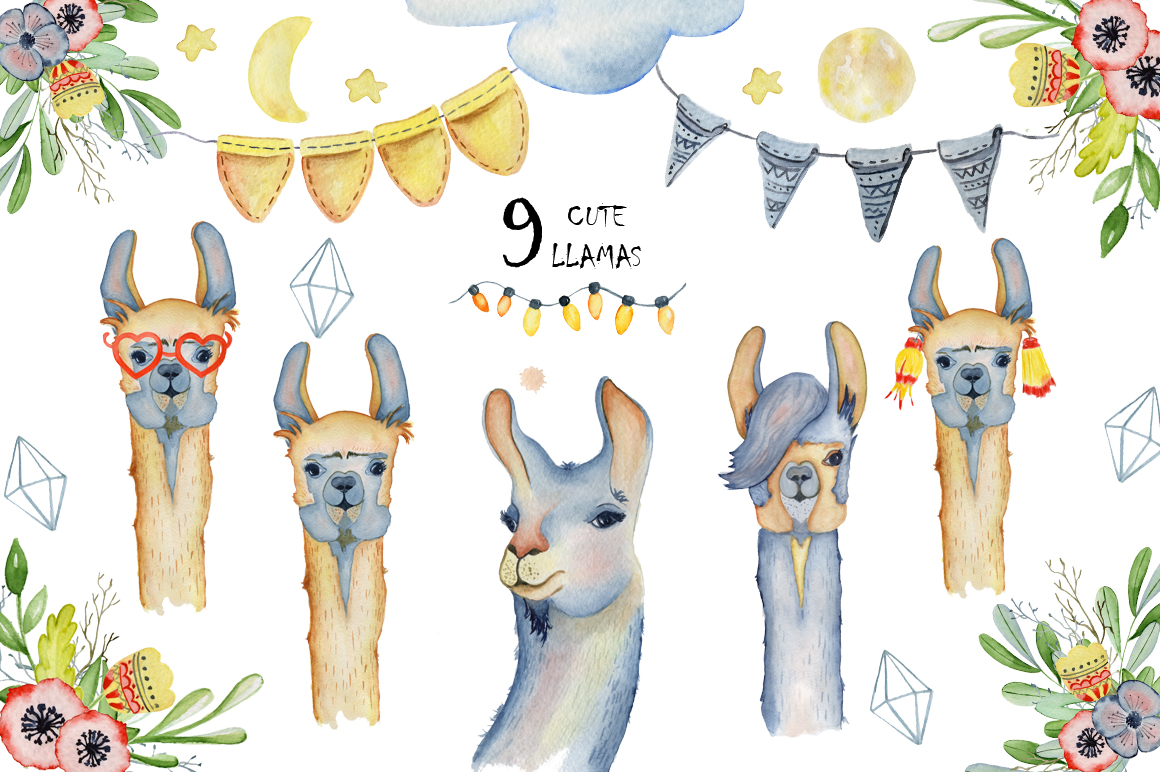 Cute llamas. Watercolor animals clipart example image 10