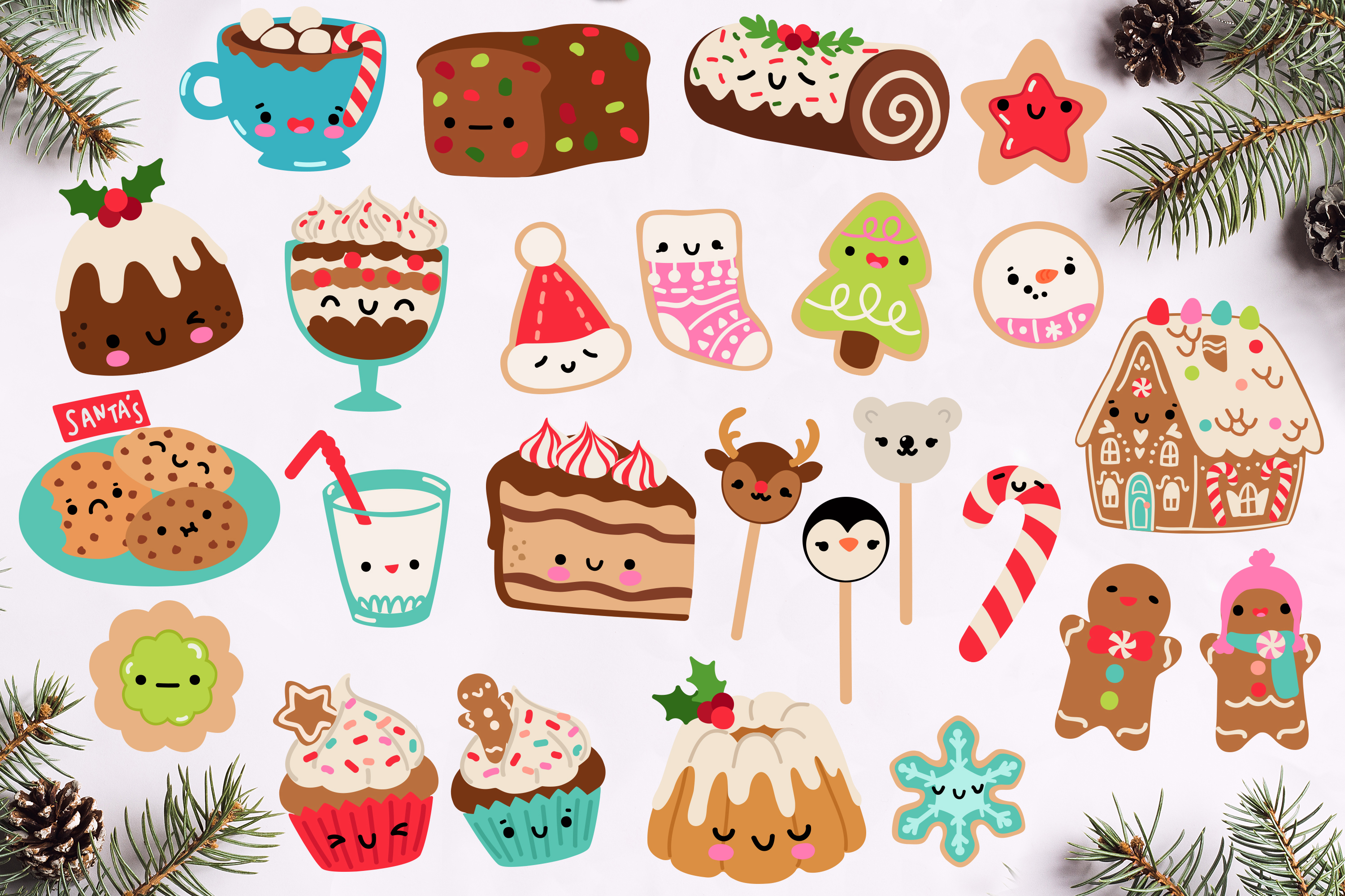 Kawaii Christmas Desserts Vector Graphics bundle example image 2