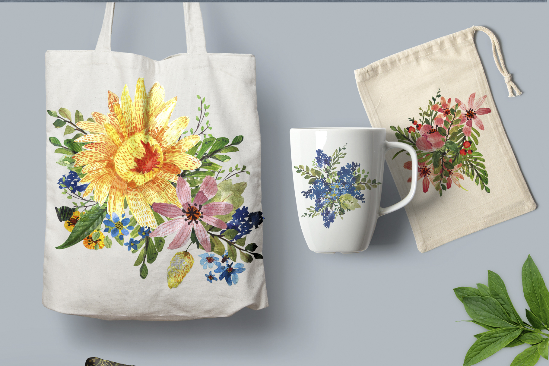 Flower Power watercolor pack set with frames wreath patterns example image 8
