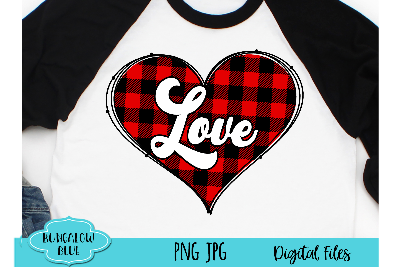 Retro Love Buffalo Plaid Valentine Heart Digital Download example image 1
