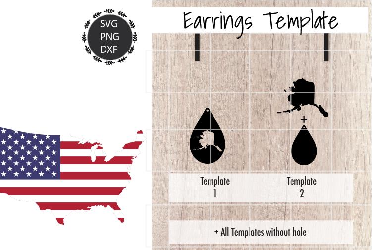 Earrings Template - Alaska Teardrop Earrings Svg example image 2