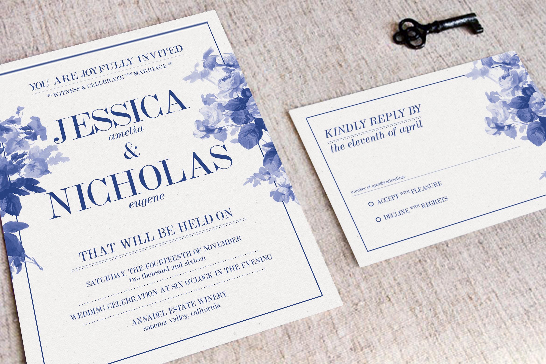 China Blue Wedding Invitation example image 2