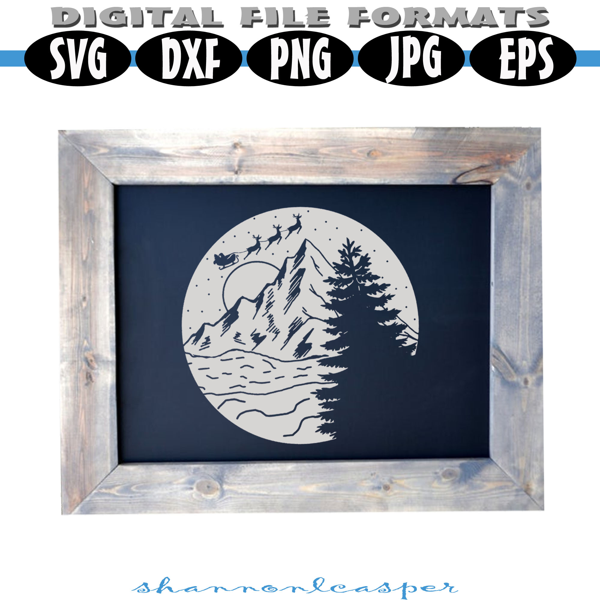 Christmas Night in the Mountains SVG example image 2