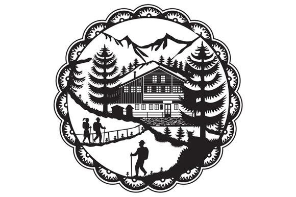 Swiss Chalet Alpine Hiker Decoupage example image 1