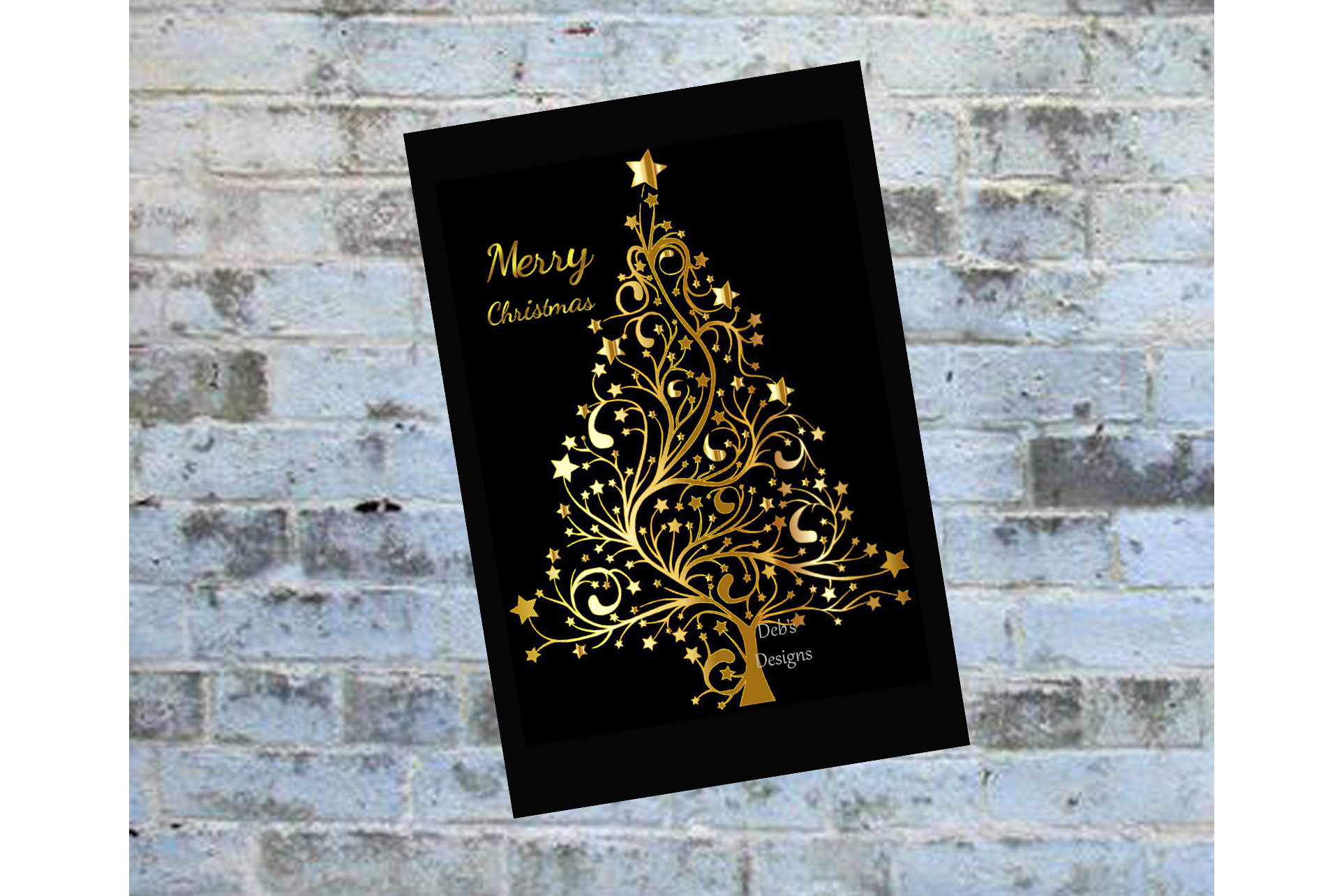 digital christmas card printable digital christmas card card black and gold christmas card - Holiday Christmas Cards
