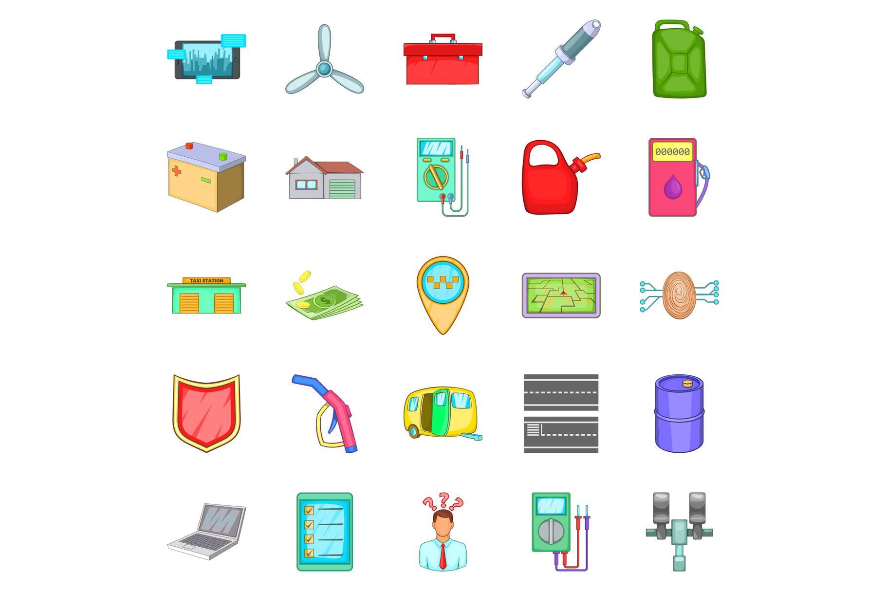Car correction icons set, cartoon style example image 1