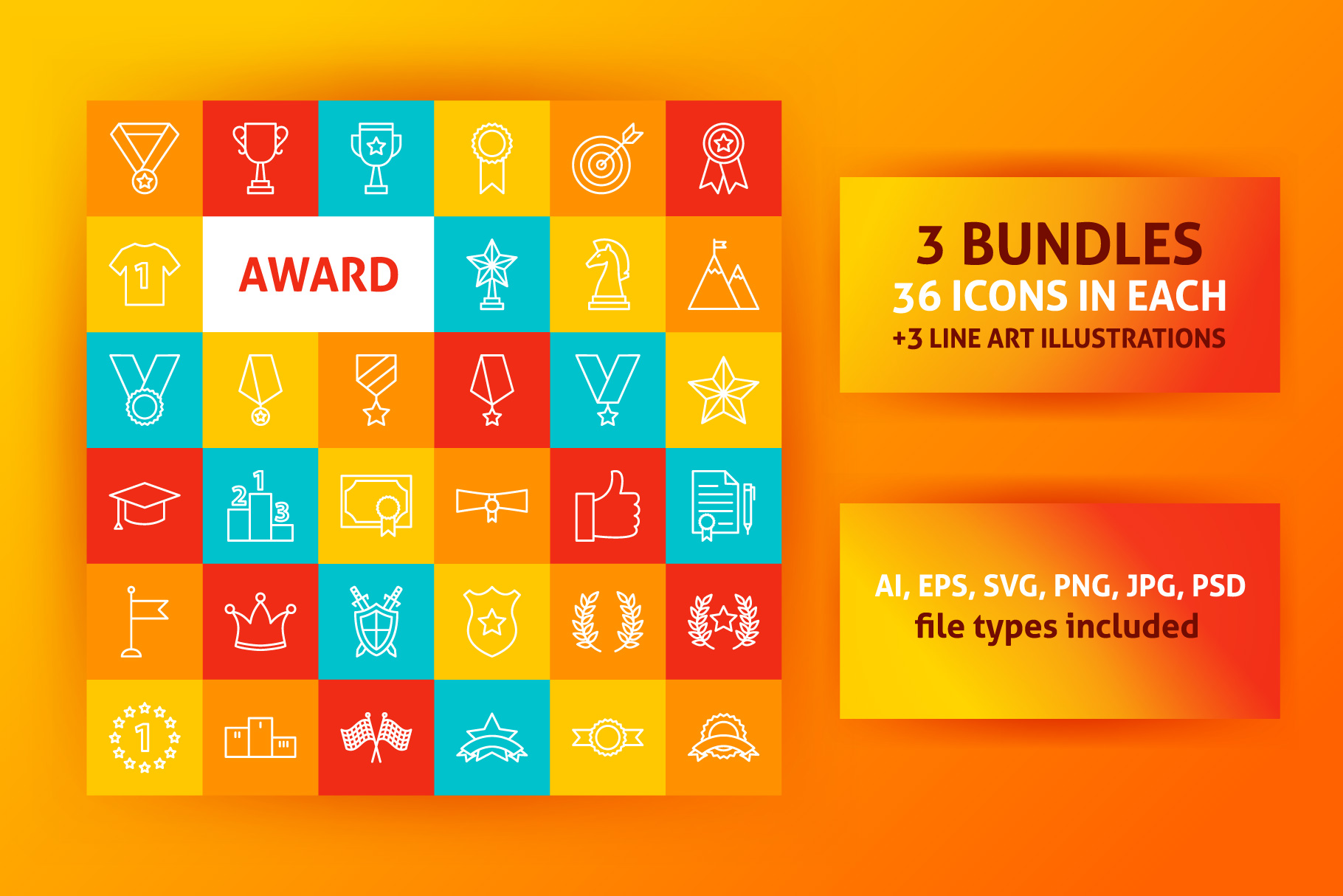 Award Line Art Icons example image 1